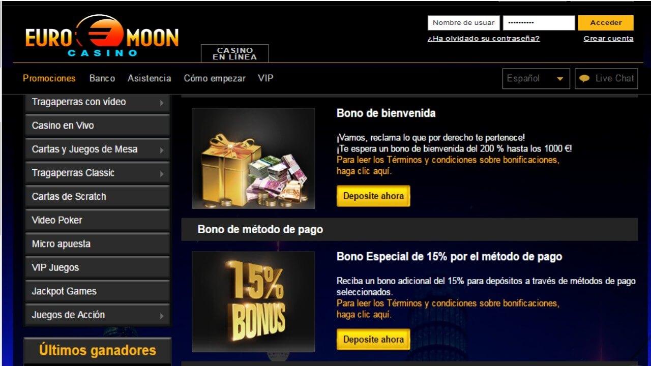 Bono de 15% por metodo de ingreso casino Euromoon