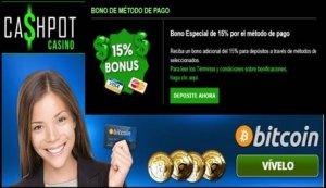 Por método de ingreso Casino Cashpot otorga 15% promocional por ingreso