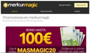 Bono de hasta 100 euros del casino Merkurmagic