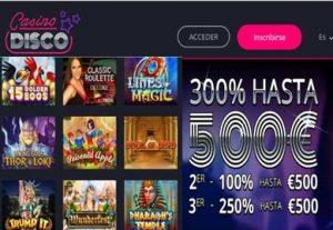 Primeros tres depósitos dan hasta 300% con 500 euros en Casino Disco