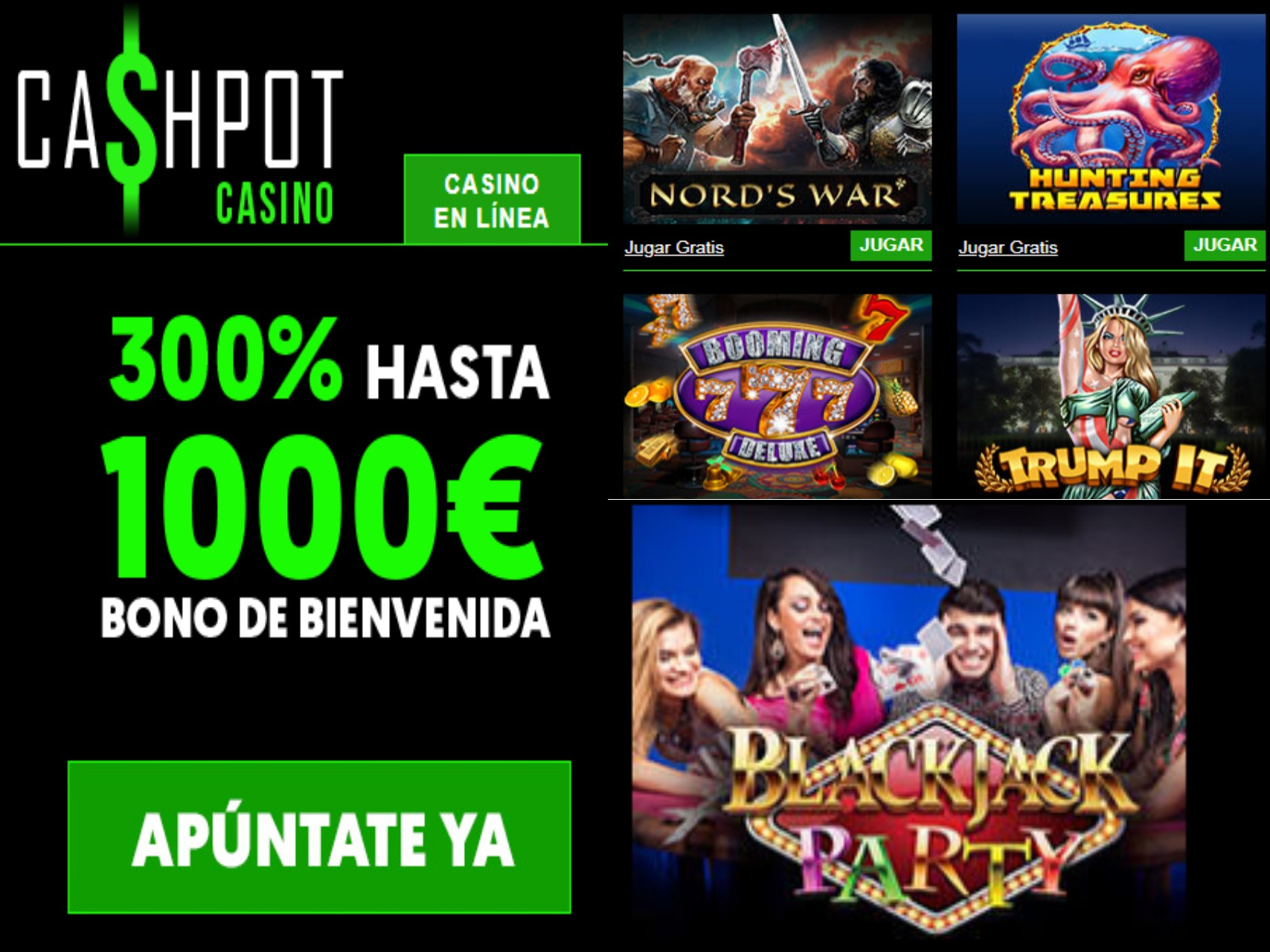 Bono de bienvenida Casino Cashpot hasta por 1000 euros