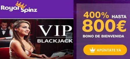 Bonos de bienvenida Royal Spinz hasta por 800 euros y 25 tiradas gratis