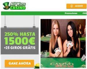Gane 1500 euros en Casino Allwins por primer depósito