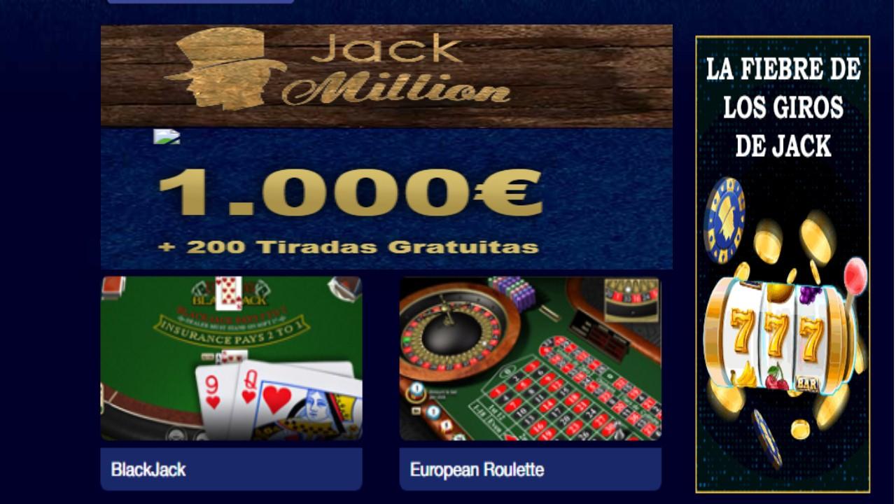 Todos los lunes giros gratis en Casino Jack Million